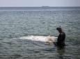 На одеському пляжі водолази дістали з дна величезну трубу