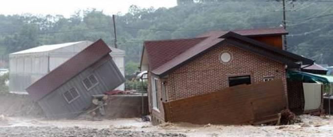 В Южной Корее проливные дожди вызвали наводнения и оползни