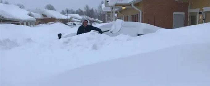 Сильный снегопад парализовал северо-восток Швеции. Видео