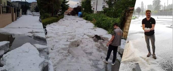 На Грецию обрушился сильный летний ливень с градом. Видео