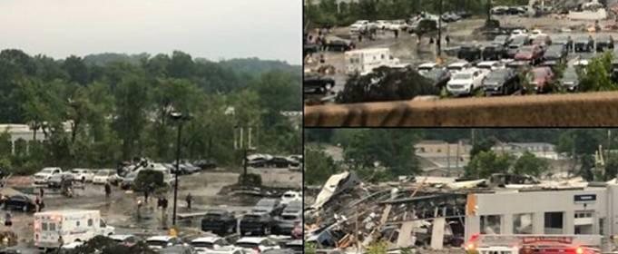 Мощный торнадо опустошил город Бенсалем к северу от Филадельфии. Видео