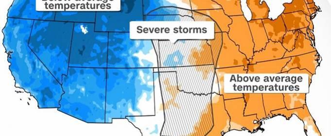 Лето и зима сталкиваются, принося в США ураганную погоду и снежные вьюги